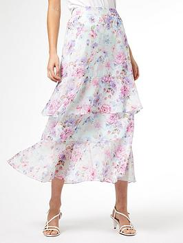 Dorothy Perkins Dorothy Perkins Floral Ruffle Tiered Midi Skirt - Lilac Picture