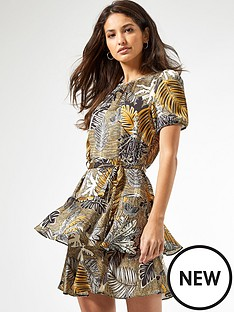 dorothy-perkins-ochre-tropical-tiered-skirt-mini-dress-yellow