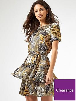 dorothy-perkins-ochre-tropical-tiered-skirt-mini-dress-yellow