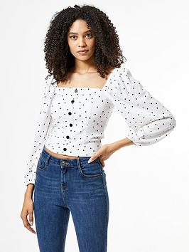 dorothy-perkins-square-neck-textured-heart-print-top-white