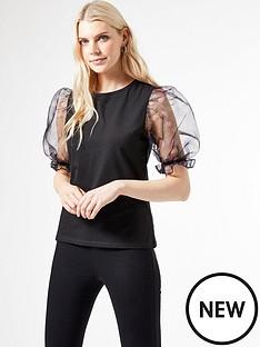 dorothy-perkins-organzanbsppuff-sleeve-t-shirt-black