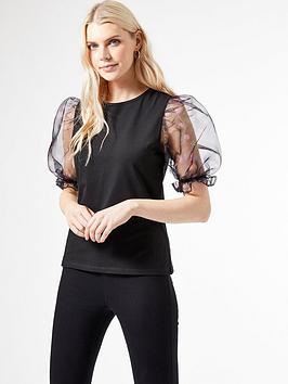 Dorothy Perkins Dorothy Perkins Organza Puff Sleeve T-Shirt - Black Picture