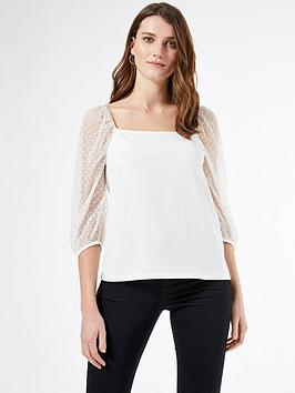 Dorothy Perkins Dorothy Perkins Square Neck Dobby Mesh Half Sleeve Top -  ... Picture