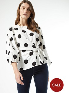 dorothy-perkins-cotton-tie-front-spot-34-sleeve-top-ivory