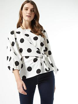 Dorothy Perkins Dorothy Perkins Cotton Tie Front Spot 3/4 Sleeve Top -  ... Picture