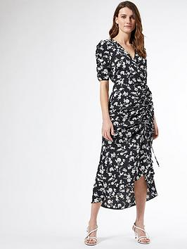 Dorothy Perkins Dorothy Perkins Floral Ruched Side Midi Dress - Black Picture