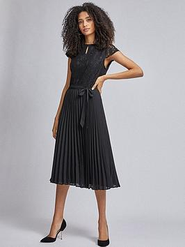 Dorothy Perkins Dorothy Perkins Pleat Alice Midi Dress - Black Picture