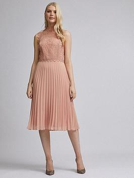 Dorothy Perkins Dorothy Perkins Lace Pleat Midi Dress - Nude Picture