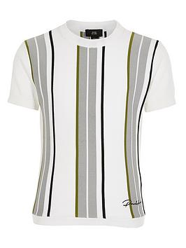 River Island River Island Boys Stripe Prolfic Knitted Tshirt-White Picture