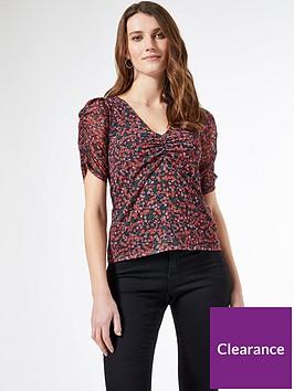 dorothy-perkins-ditsy-mesh-ruched-sleeve-t-shirt-black