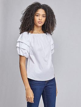 Dorothy Perkins Dorothy Perkins Cotton Tiered Bardot - White Picture
