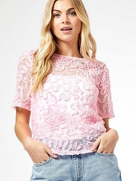 Dorothy Perkins Dorothy Perkins Swirl Mesh Top - Pink Picture
