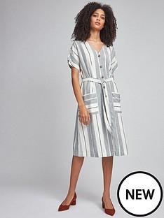 dorothy-perkins-stripe-shirt-dress-navy