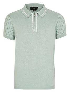 River Island River Island Boys Knitted Short Sleeve Polo-Mint Picture