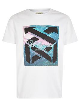 River Island River Island Boys Unlimited Satin Logo Tshirt-White Picture