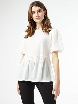 Dorothy Perkins Dorothy Perkins Textured Puff Sleeve Peplum T-Shirt - White Picture