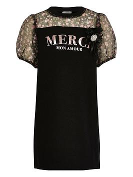 River Island River Island Girls Merci Organza Sleeve Jersey Dress-Black Picture