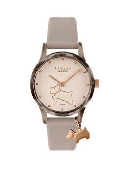radley-radley-white-and-tortoise-shell-bezel-charm-dial-grey-leather-strap-ladies-watch