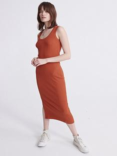 superdry-sahara-knit-midi-split-dress-red