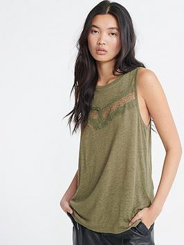 Superdry Superdry Chevron Lace Vest Top - Green Picture