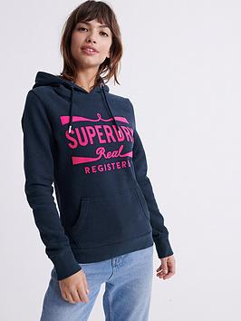 Superdry Superdry Neon Classic Real Hoodie - Navy Picture
