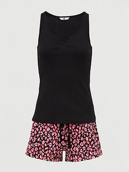 v-by-very-rib-vest-printed-short-pyjamas-animal-print