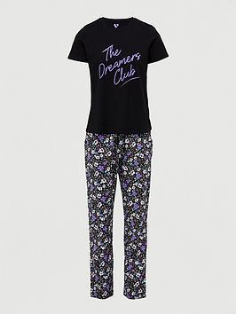 v-by-very-the-dreamers-club-slogan-pyjamas-floral
