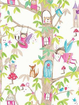 ARTHOUSE  Arthouse Woodland Fairies White Wallpaper