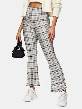 Topshop Topshop Check Plisse Flare Trousers - Grey Picture