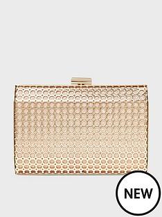 dorothy-perkins-honeycomb-box-clutch-gold