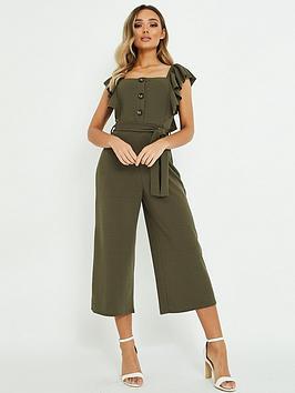 quiz-khaki-frill-sleeve-culotte-jumpsuit