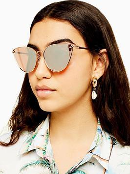 Topshop Topshop Phoenix Metal Cateye Sunglasses - Gold Picture