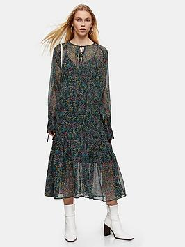 Topshop Topshop Petite Ditsy Chuckon Midi Dress - Multi Picture