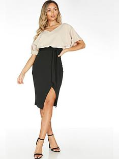 quiz-scuba-crepe-batwing-midi-dress-cream-black