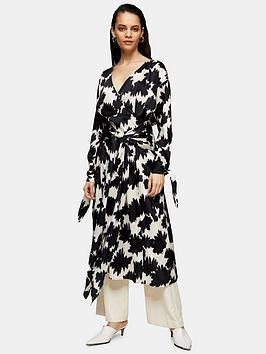 Topshop Topshop Boutique Warp Floral Tie Midi Dress - Mono Picture