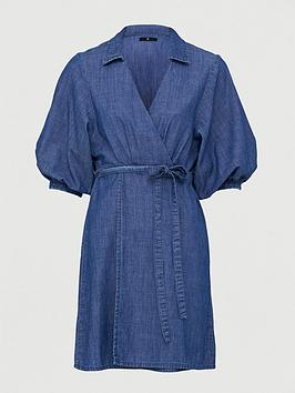 V by Very V By Very Wrap Over Soft Denim Dress - Mid Wash Picture