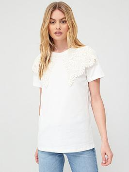 River Island River Island Oversized Lace Collar T-Shirt - Cream Picture