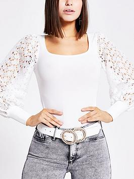 River Island River Island Floral Broderie Sleeve Top - White Picture