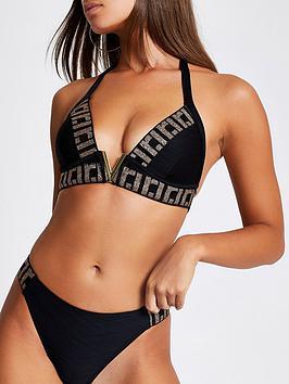 River Island River Island Ri Elastic Moulded Triangle Bikini Top - Black Picture