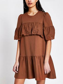 River Island River Island Broderie Frill Jersey Sweater Dress - Rust Picture