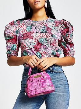 River Island River Island Printed Frill Sleeve Poplin Top - Pink Picture
