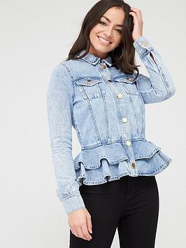 River Island River Island Rara Peplum Denim Jacket - Light Blue Picture