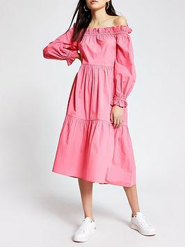 River Island River Island Bardot Puff Sleeve Tiered Midi Dress - Pink Picture