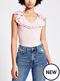 river-island-frill-detail-v-neck-knitted-vest-light-pink