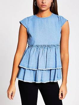 River Island River Island Denim Smock Top - Blue Picture