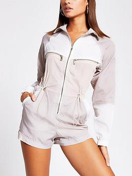 River Island River Island Nylon Colour Blocked Playsuit - Cream Picture