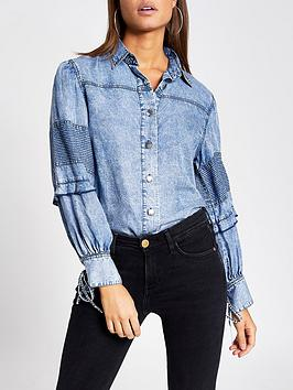 River Island River Island Balloon Sleeve Denim Shirt - Blue Picture