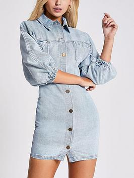 River Island River Island Denim Shirt Dress - Mid Blue Picture