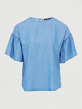 V by Very V By Very Nova Soft Touch Denim Ruffle Sleeve Top- Light Wash Picture