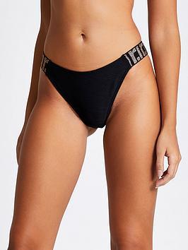 River Island River Island Ri Elastic High Leg Bikini Brief - Black Picture